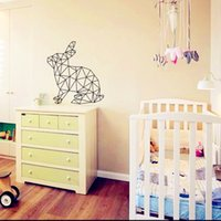 Decal abstract wall murals - Personalized Geometric Rabbit Vinyl Wall Art Stickers Creative Cartoon Wall Decor for Kids Bedroom Offer Drop Shipping