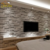 Wholesale Stacked Brick D Stone Wallpaper Modern Wallcovering PVC Roll Wallpaper Brick Wall Background Wallpaper Grey For Living Room