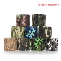 Wholesale 6 Rolls Self adhesive Non woven cmx4 m Camouflage Wrap Rifle Hunting Shooting Cycling Tape Waterproof Camo Stealth Tape