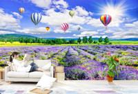 Wholesale 3d wallpaper custom photo non woven mural Lavender flowers decoration painting d wall murals wallpaper for walls d living room