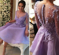 15 robes lavande achat en gros de-2017 Chic Lavender Short Nouvelle Robe Homecoming A Line With Sleeves Juniors Sweet 15 Graduation Cocktail Party Dress Plus Size Custom Made