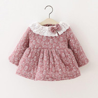 age dress - Baby Girls Strawberry Print Plus Fleece Dresses Lace Collar Winter Kids Boutique Clothing Little Girls Warm Dresses Age Years
