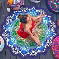 Wholesale Carpets Polygon Stamp Hanging Ball Tassels Circular Yoga Mat Round Fringed Lotus Colorful Beach Towel Blanket Shawl ag