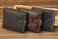 Wholesale Mens Vintage Look Buckles PU Bifold Wallet Travel Cash Hasp Case Black Coffee Brown Sewing Look A089