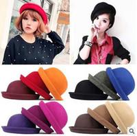 Wholesale Hot Sale Vintage Women Lady Cute Trendy Wool Felt Bowler Derby Fedora Hat Cap Hats Caps Colors