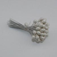 al por mayor perlas de hierro-Venta al por mayor-solo cabeza blanco flor perla estambre hierro alambre tallo pistilo pastel decoración artesanal DIY 50pcs / Lot