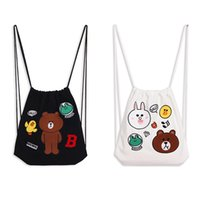 Women alphabet fabric - 2017 Girls Fashion Personality Drawstring Canvas Bag Pure Cotton Good Quality Cartoon Backpack Alphabet Pattern