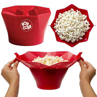 Wholesale Silicone Microwave Magic Popcorn Maker Red Mini Foldable Easy To Use Popcorn Machine Microwave Kitchen Popcorn Container Cooking Tools F244