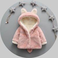 Wholesale Children S Hooded Poncho - Winter models children 's clothing 2016 new Korean version of pure color bunny baby cotton velvet children' s plush coat baby clothing