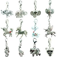 Wholesale 12pcs Mix Sale White Rhinestone Elephants Horse Animal Charms Pendants With Lobster Clasp DIY For Jewelry Making Accessories