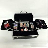 aluminum train case - black professional handle Makeup Cosmetic Storage Train Case Box Trays Jewelry Aluminum Artist Hiker