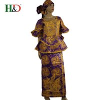 african crafts - New Fine craft production African Bazin riche dress for women cotton casual dress with short sleeves