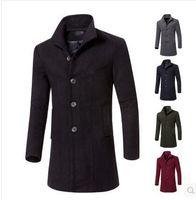 Wholesale M XL Men Classic Black retro British warm cloth coat dust long wool jacket trench coat Pure color winter new men casual coat jackets