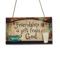Wholesale Wood Sign Plaque Friendship Is A Gift From God with Cup Wood Chalk Sign for Indoor Decoration Brown