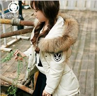 Wholesale Step seven solo children winter new children jacket long girls down jacket fur collar thickening