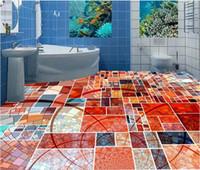 Wholesale self adhesive d floor papel de parede d flooring Abstract mosaic squares photo wallpaper floor wallpaper d for bathrooms