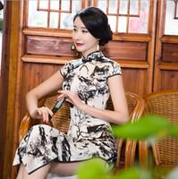 Wholesale The new women s short sleeve printed daily classic tangzhuang qipao long silk tangzhuang qipao Chinese cheongsam