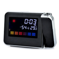 Cheap Wholesale-Desktop Digital LCD LED Projection projector Alarm Clock Calendar Weather Forecast Station Humidity clock Backlight New
