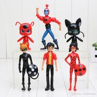 Wholesale 6pcs Miraculous Ladybug Comic Ladybug Girl Doll Action Figure Toys Cute Vinyl Anime Toys for Children Christmas Gifts