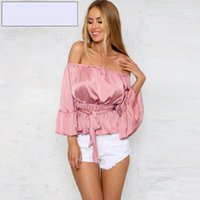 Wholesale BerryGo Sexy off shoulder ruffle satin blouse shirt Soft flare sleeve bow summer tops Elegant glossy pink women blouses blusas