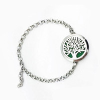 Wholesale 2017 New tree of life Aromatherapy Bracelet L Stainless Steel Essential Oils Diffuser Locket Bangles Bracelets Jewelry