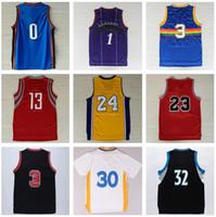 al por mayor xxl camisas para hombres-Hombre Camisas de baloncesto baratos Throwback Clásico Deportivo Deportiva Ropa Hombres Con El Equipo De Jugador Nombre Tamaño S-XXXL Camiseta de baloncesto