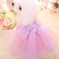 Wholesale Cute Little Princess cotton padded dogs clothes for dogs in winter for festive lace cotton pet clothes