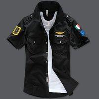 achat en gros de mens motifs de broderie-Hommes chemises fashion design Été aeronautica militare Chemises manches courtes hommes air force une broderie occasionnels Chemise d'armée