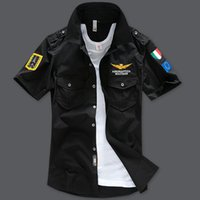 Wholesale Mens shirts fashion design Summer aeronautica militare Short sleeve shirt men air force one embroidery casual Army shirt