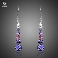Wholesale Platinum Plated Swarovski Elements Multicolour Round Stellux Austrian Crystal Wedding Drop Wedding Earrings For Women TE0260