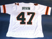 Wholesale NCAA College MICHAEL IRVIN CUSTOM UNIVERSITY OF MIAMI HURRICANES W JERSEY THE U READ DAMAGED Mens Stitching football Jerseys