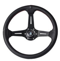 Wholesale Fast shippingOriginal Logo Deep Black Spoke ID inch Rally Racing Steering Wheel ID inch mm Black Real Leather ND Rally Tunin