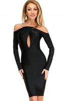 accent necklaces - 2017 sexy Elegant Bodycon Dress vestidos de festa Off Shoulder Halterneck Gold Necklace Accent Black Midi Party Dress LC61368