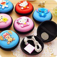 animal earphones - Women Kawaii Animals Cartoon Stitch Hello Kitty Silicone Coin Purse Key kids Girls Wallet Earphone Organizer Box Bags