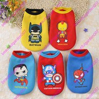 Wholesale New Cute Cartoon Superman Design Pet Costume Clothing Cat Dog Clothes Puppy Hoodie Winter Coat for Dogs
