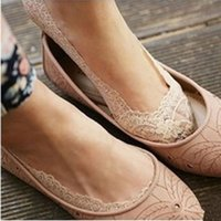 ballet style slippers - New Cozy Korean Style Women Elastic Cotton Lace Antiskid Invisible Low Cut Ballet Dance Socks Slippers