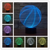 basketball furniture - 3D Lamp basketball best gift for children Night light Furniture Decorative colorful color change household Home Accessories