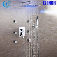 Wholesale C C SPA Bathroom Shower Faucet Set Inch Rainfall Color LED Shower Heads With Massage Body Jets Brass Hand Shower