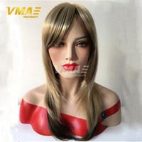 al por mayor pelo importada-Pelucas de pelo humano de la venta caliente pelo recto largo del color 18inches pelo humano sintético importado acoplamiento interno más hermoso y más sano