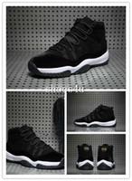 Hombres del salto los zapatos de baloncesto retros de los hombres del aire 11 Zapatos de baloncesto negros baratos de los hombres de la alta calidad del terciopelo de Retros 11s calzan los 5.5.5