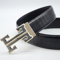 Wholesale HOT mens Crocodile Leather designer smooth buckle h belts strap male Novelty high quality brand Belts ceinture homme Luxury