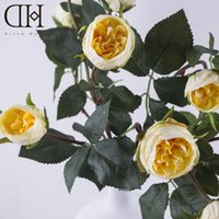 Wholesale DH Good quality heads Artificial white roses silk flowers Bouquet for home party decoration champagne Real Touch rose Flowers wedding