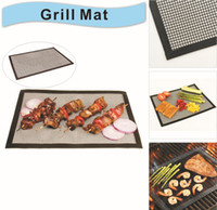 Wholesale silicone mat grilling mesh Barbecue Tool Accessories Baking Bake Mat Oven Liner Reusable PTFE Non Stick BBQ Grill Mats quot X quot