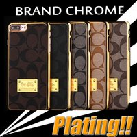 Plastic apple logo case - Brand Chrome Hybird Slim Plating Electroplate Leather Cover Hard Case For iPhone Plus S SE S Samsung S7 Edge S6 Note With Logo DHL p