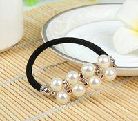 Wholesale Rabbit ear ring pearl diamond elastic hair dress gift headwear factory M001