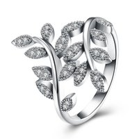 bay leaves plants - 925 Sterling Silver Bay Ivy Leaves Leaf Vine Ring with CZ Setting