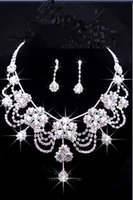 Alloy beaded fashion jewellery - 2016 Luxury Wedding Jewellery Sets Beaded Bridal Accessories Necklace Earrings Accessories Two Pieces Cheap Fashion Style Hot