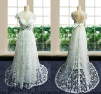 Wholesale Sweetheart Beach Empire Wedding - 2016 Sexy Vintage Wedding Dresses Beads Capped Sleeves Empire Sheath Cloumn Lace Bow Sweep Backless Floor Length Custom Made