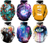 Wholesale NWT Christmas SantaWinter Autumn Galaxy Print Punk Women Fashion D Print Hoodies With Hat Pocket Coat Digital Gothic Print Hooded Pullovers