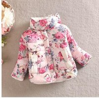 Wholesale Winter New Children Warm Coat Girl Boy Flower Print Cotton Clothing Kids Thick Outwear Clothes AJ83